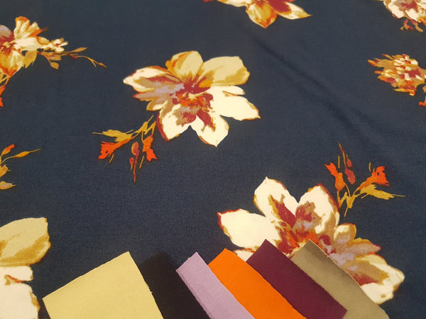 Autumn Floral on Navy Blue - Double Brushed Poly Lycra - clearance