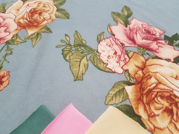Pink and Gold Roses on Blue - Double Brushed Poly Lycra - clearance