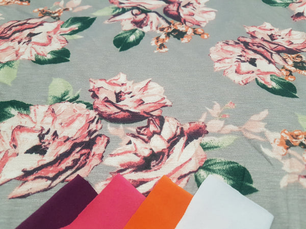 Pink Floral on Silver Grey - cotton rayon lycra