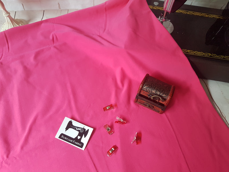 Fuchsia Pink - solid cotton lycra - 185cm wide - 220gsm