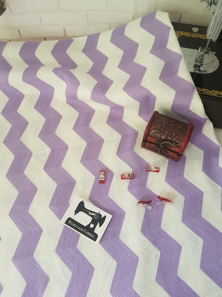 Purple/White Chevron, per metre - Knit - 136cm wide - clearance