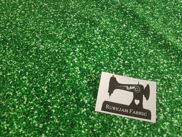 Green Faux Glitter - cotton lycra - 150cm wide