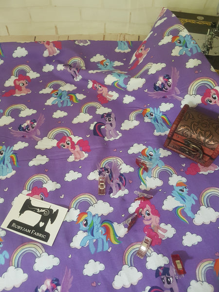 Ponies on Purple - cotton lycra - 150cm wide - DISCONTINUED