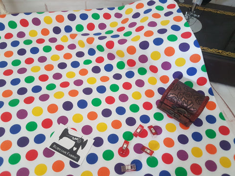 Bright Rainbow Polka Dots - cotton lycra - 150cm wide