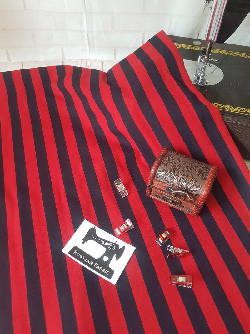 Red Black Vertical Stripes - cotton lycra - 150cm wide