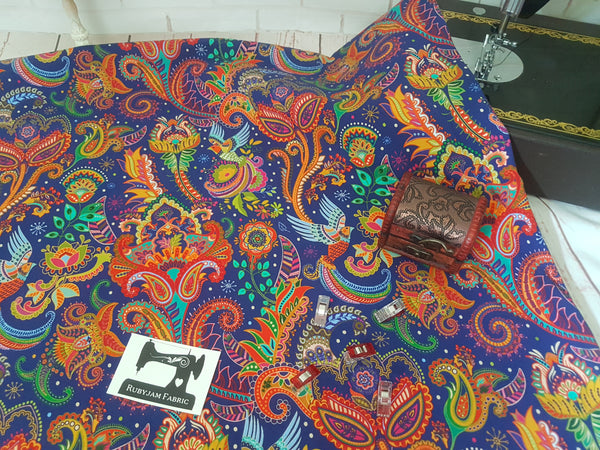 Indian Paisley - bamboo lycra - 150cm wide