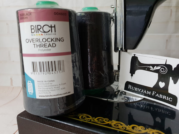 Birch Overlocker thread, black, 5000M - clearance