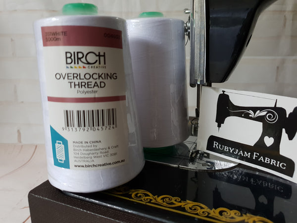Birch Overlocker thread, white, 5000M - clearance
