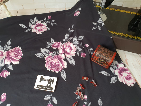 Pink Grey Roses on Black - Double Brushed Poly Lycra - 150cm wide