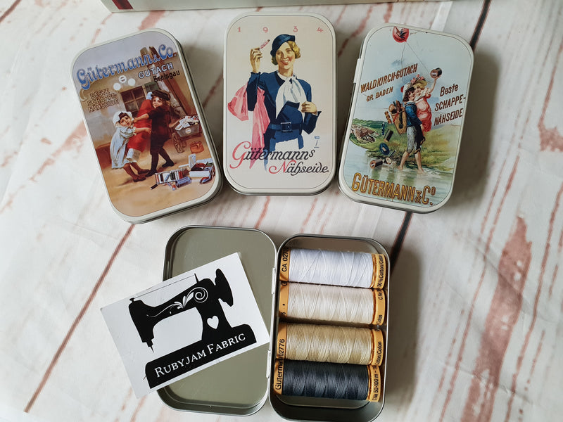Gutermann Nostalgia Tins - with 4 spools of thread- clearance