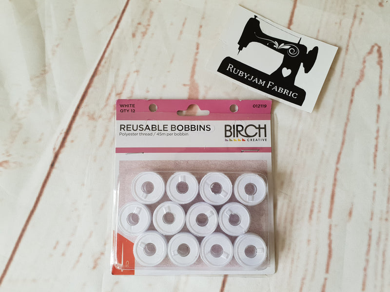 Birch pre-wound reusable bobbins colour WHITE - pack of 12