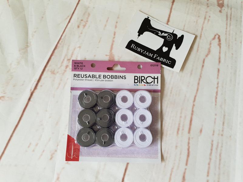 Birch pre-wound reusable bobbins mixed BLACK AND WHITE - pack of 12