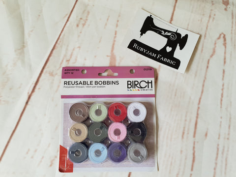 Birch pre-wound reusable bobbins MIXED COLOURS - pack of 12