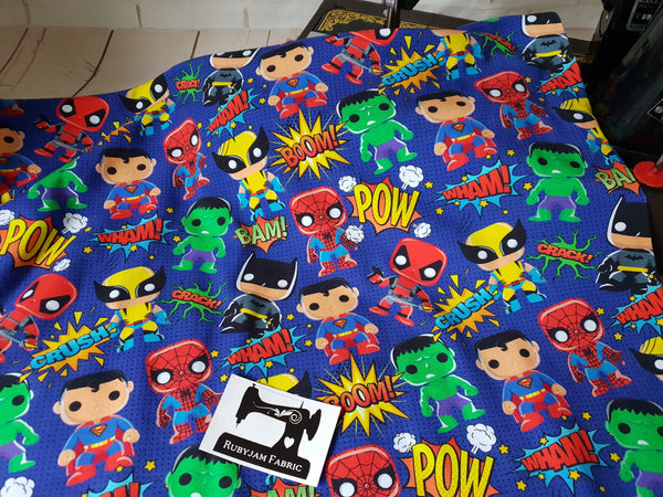 Pop Heroes - cotton lycra - 150cm wide