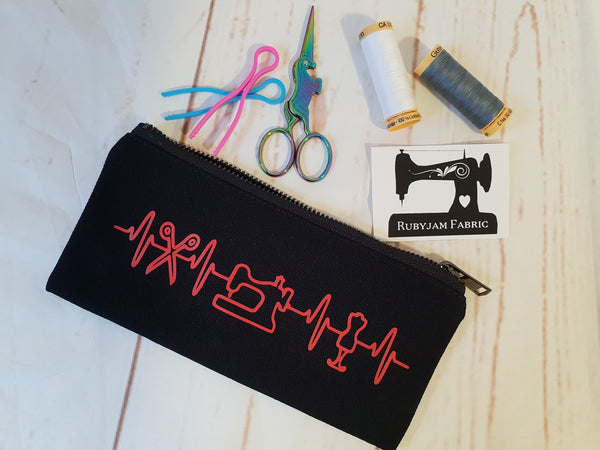 Sewing Heartbeat - Black - Zippered Case