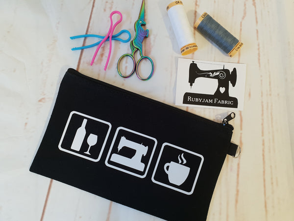 Wine/Sew/Coffee - Black - Zippered Case