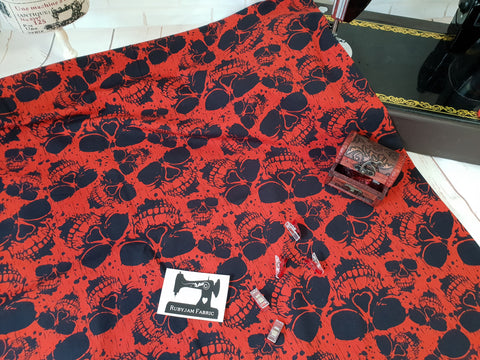 Rusty Skulls - cotton lycra - 150cm wide
