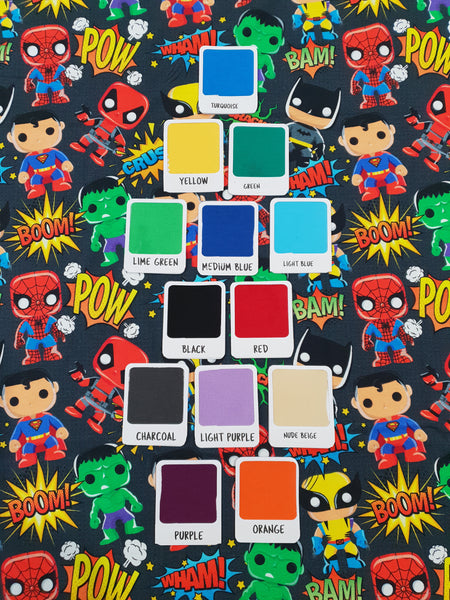 Pop Heroes Charcoal - cotton lycra - 150cm wide - DISCONTINUED