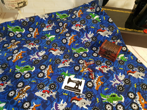 Monster Trucks - cotton lycra - 150cm wide