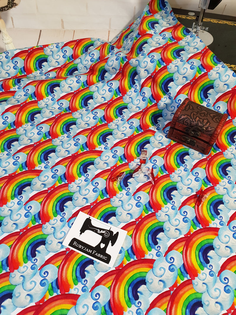 Oh Happy Day - Watercolour Rainbows - cotton lycra - 150cm wide
