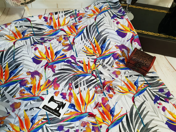 Birds of Paradise WHITE- bamboo lycra - 150cm wide
