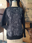 Black Silver Paisley - cotton lycra - 150cm wide