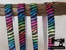 "1M Rainbow Zebra - Printed - 5/8"" (16mm) - Fold Over Elastic (FOE)"