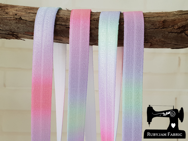 "1M Unicorn Rainbow Ombre - Printed - 5/8"" (16mm) - Fold Over Elastic (FOE)"