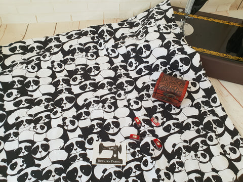 Pandas - cotton lycra - 150cm wide