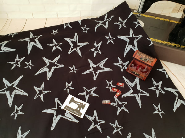 Chalk Stars - cotton lycra - 150cm wide