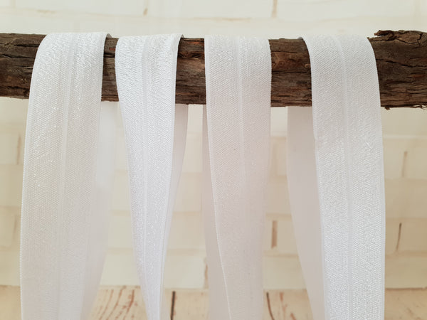 "1M White - Solid - 1"" (25mm) - Fold Over Elastic (FOE)"