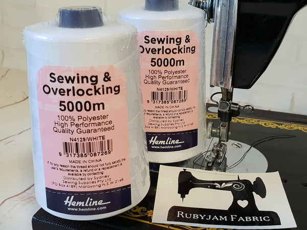 Hemline Overlocker thread, white, 5000M - clearance