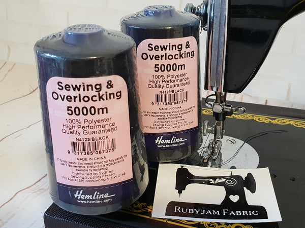Hemline Overlocker thread, black, 5000M - clearance
