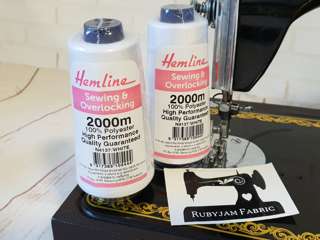 Hemline Overlocker thread, white, 2000M - clearance