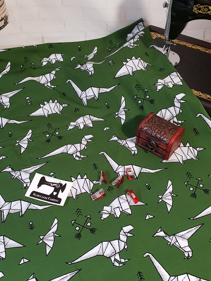 Green Origami Dinosaurs - cotton lycra - 150cm wide