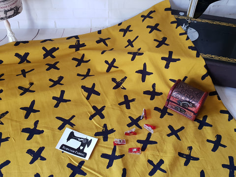 Black Crosses - Mustard - cotton lycra - 150cm wide