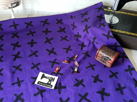 Black Crosses - Purple - cotton lycra FRENCH TERRY - 150cm wide