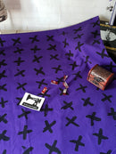 Black Crosses - Purple - cotton lycra FRENCH TERRY - 150cm wide - clearance