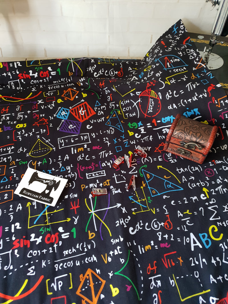 Maths Equations - cotton lycra - 150cm wide
