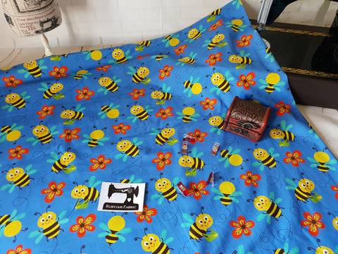 Busy Bees - cotton lycra - 150cm wide