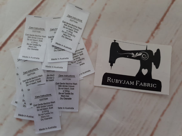 Large 100 Pack - Cotton - CARE LABELS - Labels for 100% Cotton