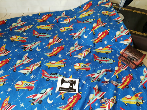 Retro Rockets - cotton lycra - 150cm wide