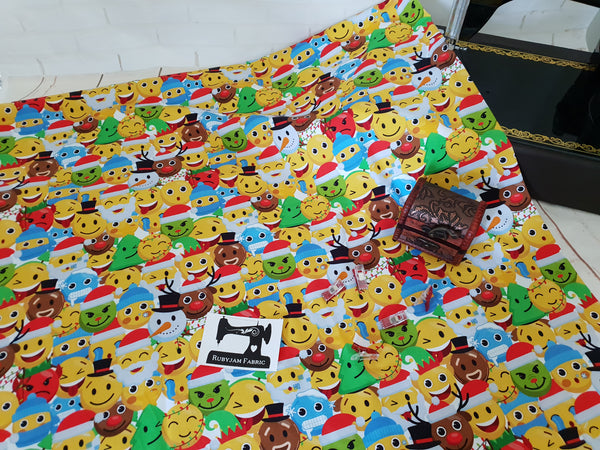 Christmas Emoji - cotton lycra - 150cm wide - clearance