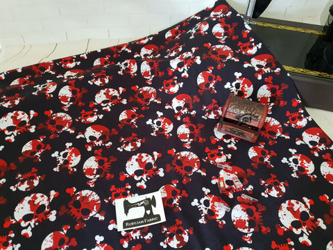 Bloody Skulls - cotton lycra - 150cm wide