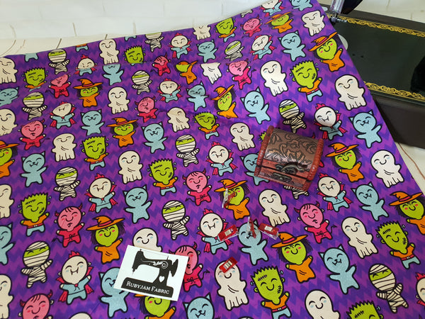 Little Monsters - cotton lycra - 150cm wide