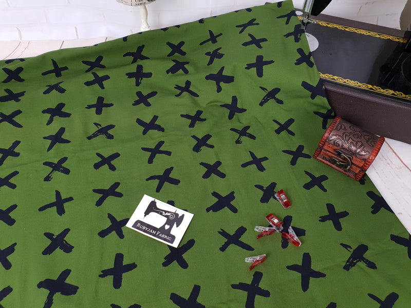 Black Crosses - Green - cotton lycra FRENCH TERRY - 150cm wide