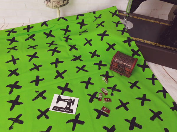 Black Crosses - Lime Green - cotton lycra - 150cm wide