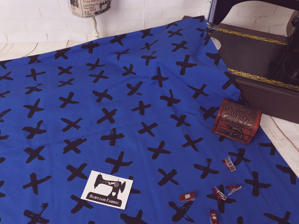 Black Crosses - Blue - cotton lycra FRENCH TERRY - 150cm wide