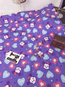 Purple Mouse Heads - cotton lycra - 150cm wide - clearance