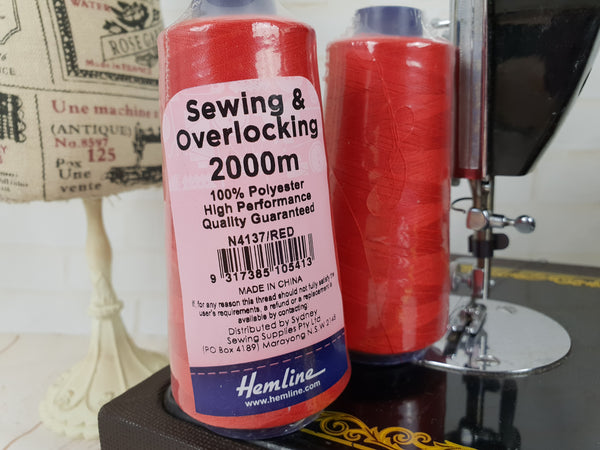 Hemline Overlocker thread, red, 2000M - clearance